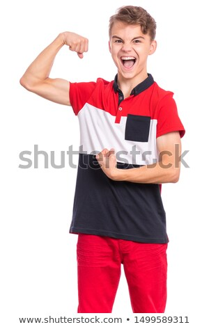 Handsome bodybuilder flexing and shouting Stock photo © wavebreak_media