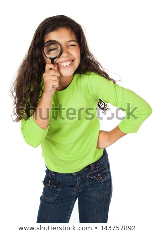 Young girl with magnifying glass isolated on white Stock photo © Elnur