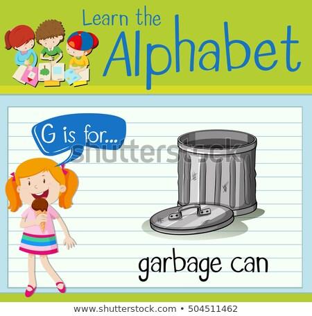 Foto stock: Alfabeto · cubo · de · la · basura · ilustración · papel · ninos · educación
