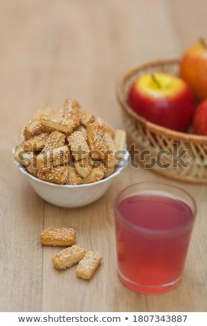 Szezámmag friss alma teljeskiőrlésű búza szezámmag aprított Stock fotó © Digifoodstock