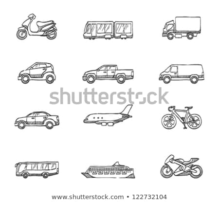 caminhão · de · entrega · esboço · ícone · vetor · isolado - foto stock © rastudio