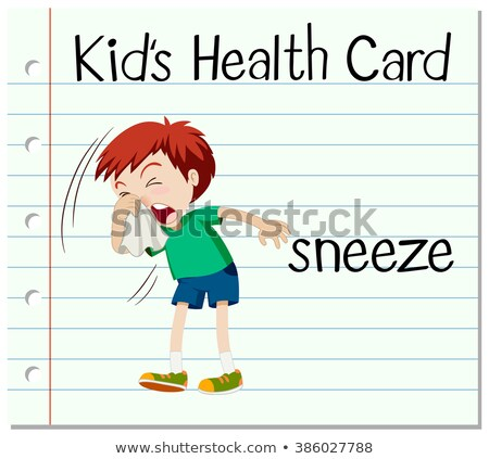 Flashcard with word sneeze Stock photo © bluering