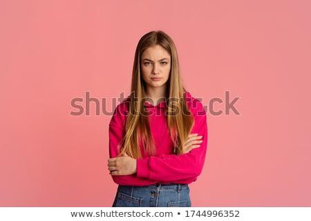 студент · девушки · позируют · красный · рубашку - Сток-фото © sapegina