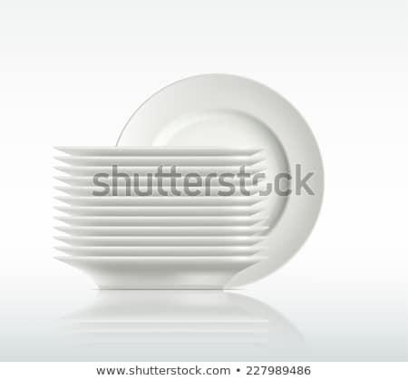 スタック · プレート · 白 · 表 · キッチン · カフェ - ストックフォト © veralub