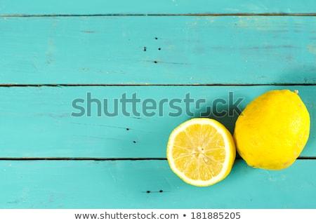 Taze yarım bütün limon mavi rustik Stok fotoğraf © Yatsenko