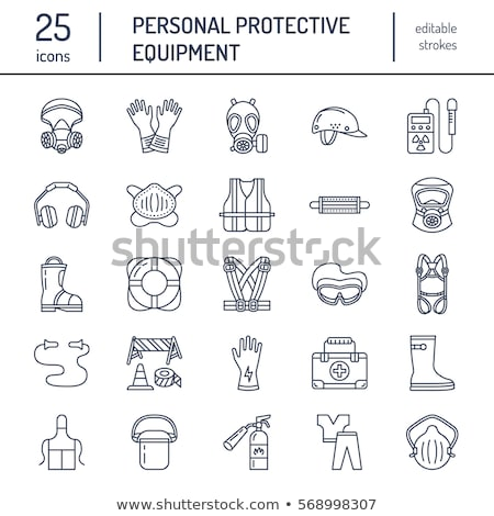 personal protective equipment line icons gas mask ring buoy respirator bump cap ear plugs and s stock photo © nadiinko