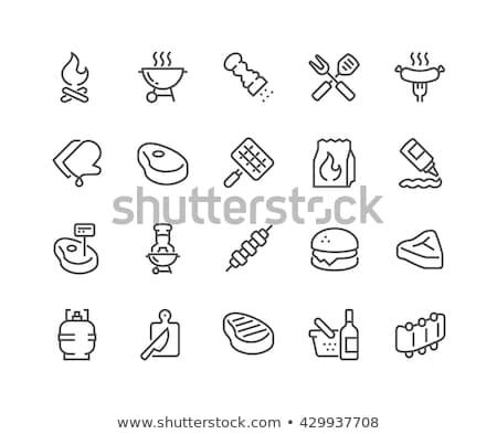 Grilled sausage on fork line icon. Stock photo © RAStudio