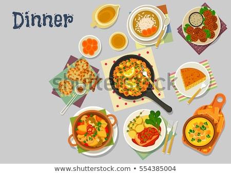 krém · vacsora · tányér · dekoratív · perem · tiszta - stock fotó © digifoodstock