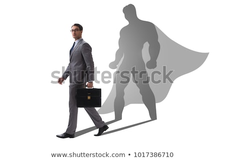 Stock photo: The super hero businessman isolated on white