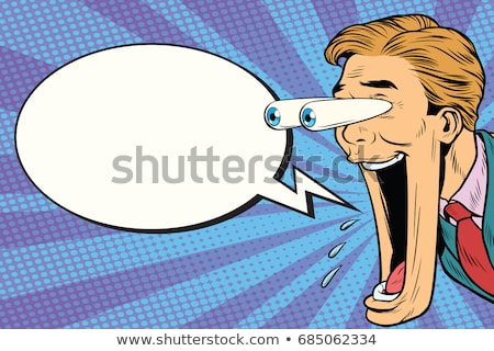 hyper expressive reaction cartoon wow man face big eyes and wid stock photo © studiostoks