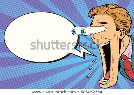 Cartoon · hombre · ojos · burbuja · de · pensamiento · mano · diseno - foto stock © studiostoks