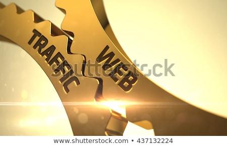 golden cog gears with web analytics concept 3d stock photo © tashatuvango