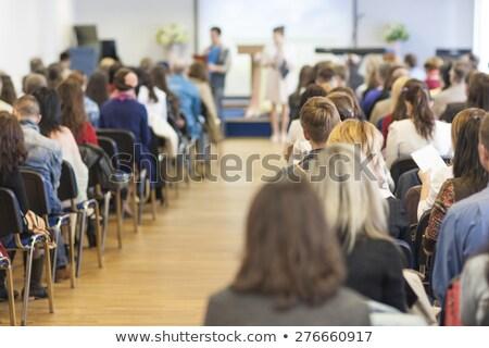 Groep mensen gehoorzaal vrouw papier man menigte Stockfoto © IS2