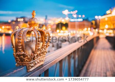 skeppsholmsbron bridge with golden crown in stockholm sweden   europe stock photo © jeewee