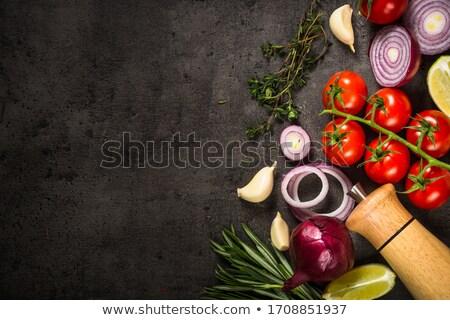 Pişirme malzemeler taze sarımsak zeytinyağı balsamik sirke Stok fotoğraf © YuliyaGontar