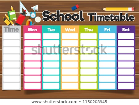 Időbeosztás iskola vektor menetrend gyerekek rajz Stock fotó © vasilixa
