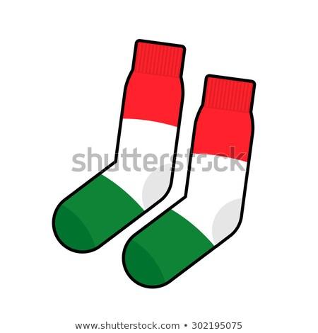 Patriot socks Italy.  Clothing accessory Italian flag. Vector il Stock photo © popaukropa