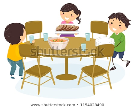 Brother and sister arranging a table Stock photo © IS2