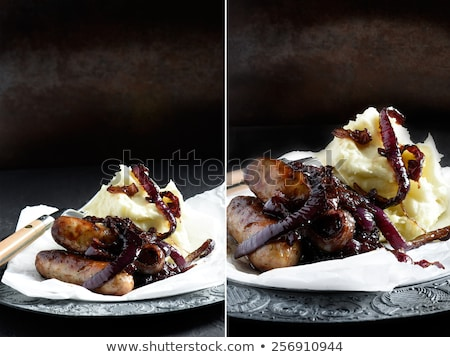 Sausage and mash with caramelized onions Stock photo © IS2