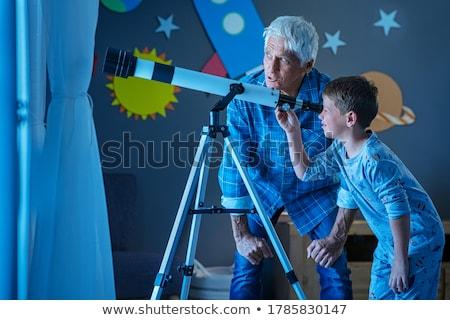 Ver luna telescopio ilustración estrellas planeta Foto stock © adrenalina