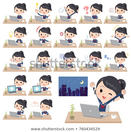 school girl Sailor suit_desk work Stock photo © toyotoyo