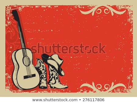 Red cowboy boots. Country style shoes. Vector illustration Stock photo © MaryValery