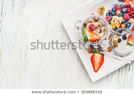 Házi készítésű reggeli egészséges természetes hozzávalók zab Stock fotó © artjazz