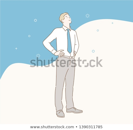 relaxed businessman standing and waiting in line stock photo © feedough