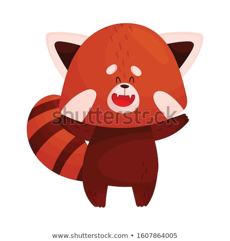 Cartoon Red Panda Waving Stock photo © cthoman