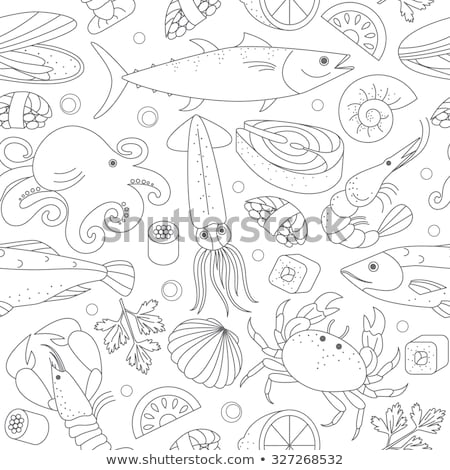 different marine animals as seafood illustration stock photo © robuart
