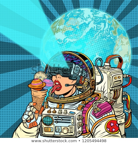 Virtual reality. Woman astronaut and space dreams Stock photo © studiostoks