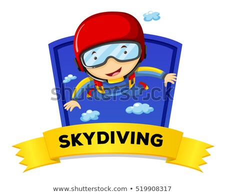 Label design with man doing skydiving Stock photo © colematt