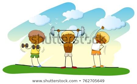 Trois personnes haltérophilie pelouse illustration sport fond Photo stock © colematt