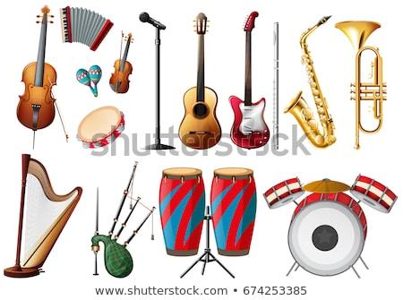 Különböző hangszer illusztráció zene háttér fehér Stock fotó © colematt