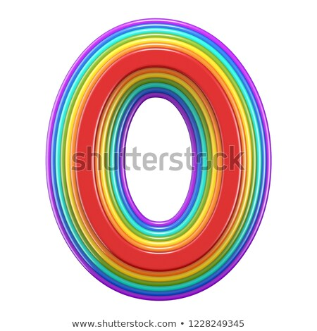 Concentric rainbow font letter O 3D Stock photo © djmilic