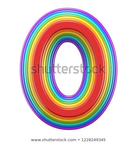 Koncentrikus szivárvány betűtípus o betű 3D renderelt kép Stock fotó © djmilic