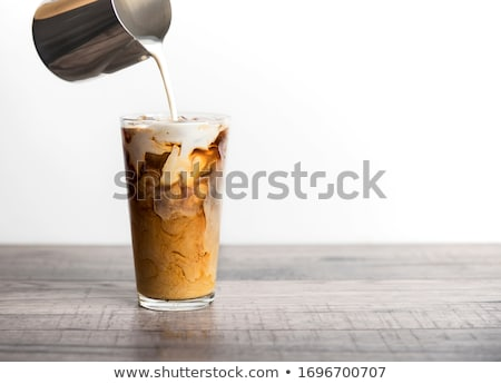 Jeges kávé tej magas üveg rózsaszín Stock fotó © grafvision
