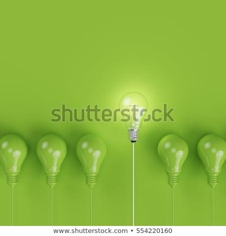 Bright light bulb on green background stock photo © MikhailMishchenko