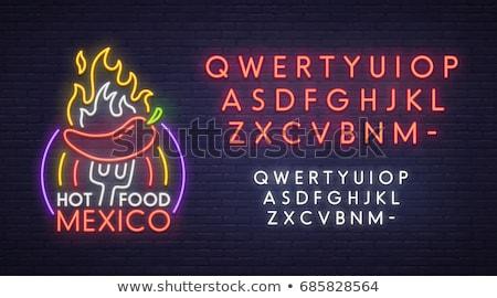 Meksika geniş kenarlı şapka neon parti mutlu arka plan Stok fotoğraf © Anna_leni