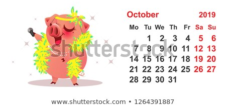 Pig female sings. Calendar October 2019 year grid Stock photo © orensila