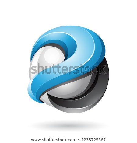 Blue and Black Bold Metallic Glossy 3d Sphere Vector Illustratio Stock photo © cidepix