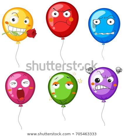 Balões expressões faciais ilustração cara fundo azul Foto stock © colematt