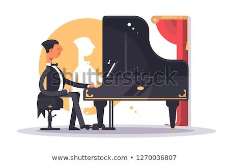 Zongorista férfi luxus öltöny játszik dal Stock fotó © jossdiim