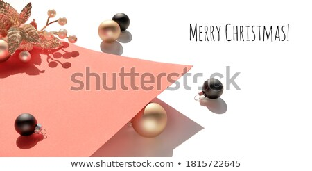 Сток-фото: Paper Banner Christmas Golden Bauble Twigs