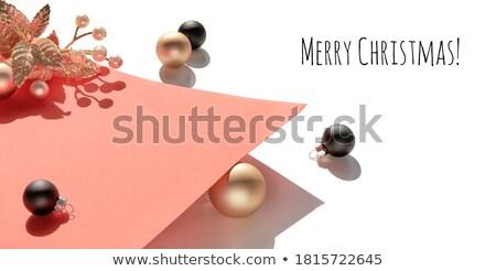 Paper Banner Christmas Golden Bauble Twigs Stock photo © limbi007