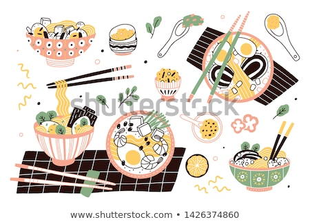 Noodle Asian Meal Colorful Vector Illustration Stock photo © robuart