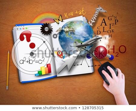 Kid garçon livre science physique illustration Photo stock © lenm