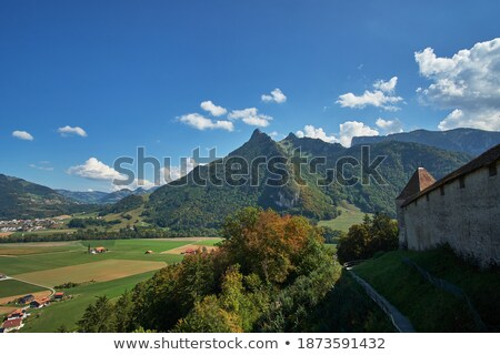 Valley with Mountain range and surrounding countryside, view fro Stock photo © amok