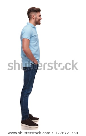 relaxed casual man wearing polo shirt waiting in line Stock photo © feedough