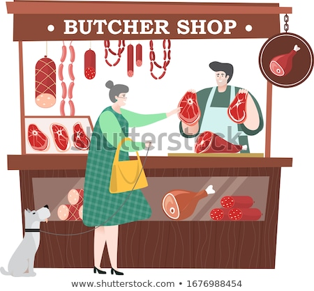 Supermarket Salesperson Butcher Department Vector Stock photo © robuart